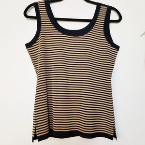 Exclusively Misook | Black and Tan Striped Tank